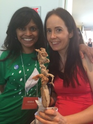 Pamela Tourigny of the NCVA and Ottawa Veg Fest, and Nadia Mohabir, who played a big role in organizing the Montreal Vegan Festival. Feat. Paradis Végeetarien's kebab.