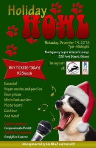 Poster for the Holiday Howl, December 2013, which raised nearly $2,000 for animal rescues.